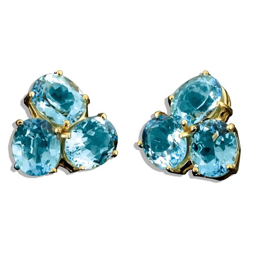 18k Gold Three-Stone Blue Topaz Earrings