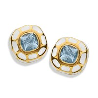 18k Gold Blue Topaz Earrings with Giraffe Enamel