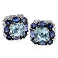 18k White Gold & Blue Topaz Square Earrings with Iolite Border