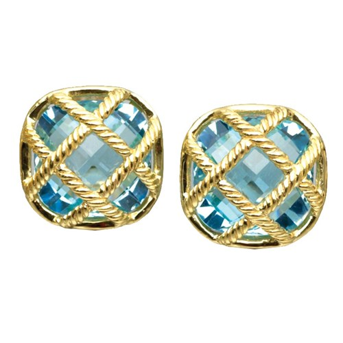 "18k Gold ""Fluted Lattice"" Blue Topaz Earrings"