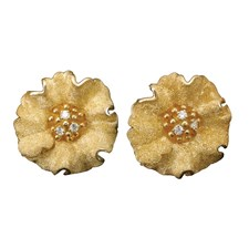 18k Gold Textured Flower Earrings with Diamonds