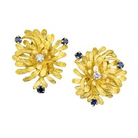 18k Yellow Gold Spray Diamond Earrings