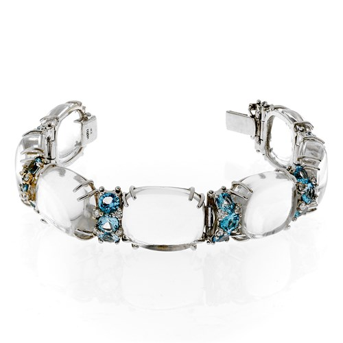 18k White Gold Square Crystal Bracelet with Blue Topaz & Diamonds