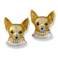 Chihuahua with Diamond Collar Earrings