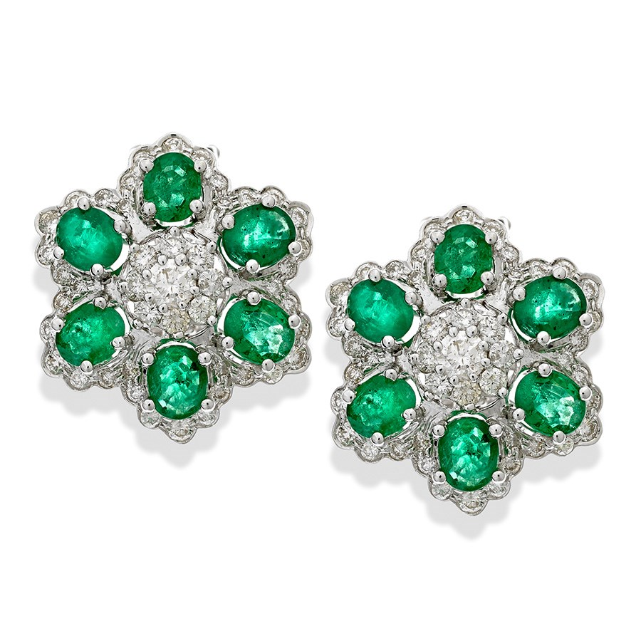 18k White Gold Emerald Diamond Flower Earrings Diamond Earrings
