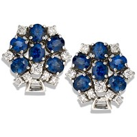 Hexagon Sapphire Diamond Earrings