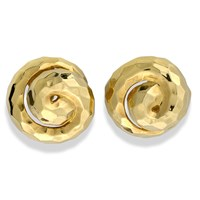 18K YG Faceted Hammered Swirl Earrings