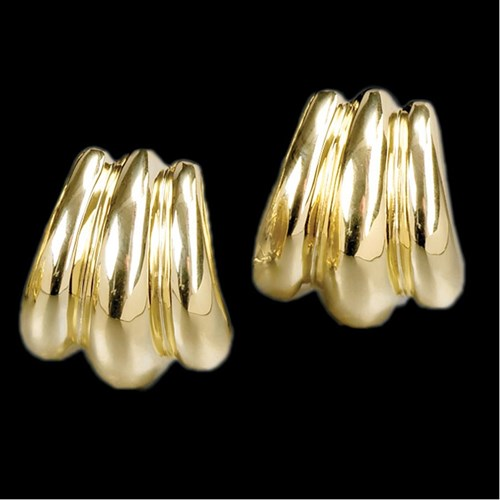 18K Triple Fluted Dome Earrings