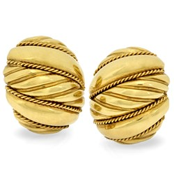 18k Gold Swirl Banded Earrings