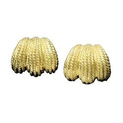 18K YG Triple Lobe Twist Rope Earrings