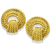 18K Gold Braided Rope Earrings