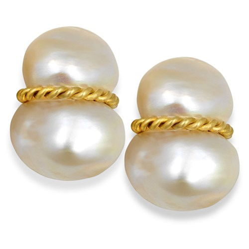 18 YG Peanut Pearl Earrings