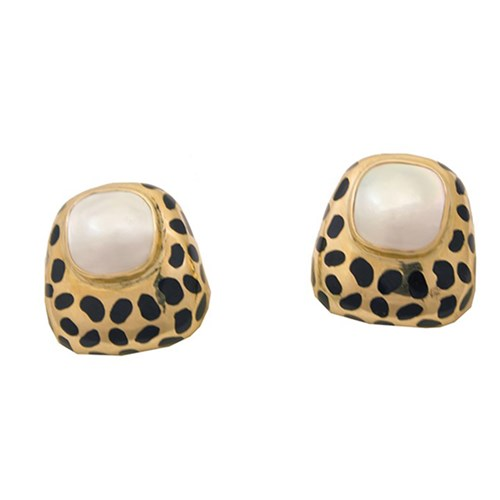 18k YG Leopard Mabe Pearl Earrings