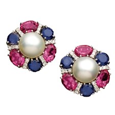 Pink Topaz Iolite Mabe Pearl Earrings
