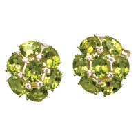 18k Peridot Cluster Earrings with Diamonds
