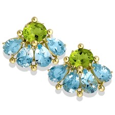 18k Gold Fan-Shaped Earrings with Blue Topaz & Peridot