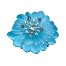18k White Gold Crystal & Turquoise Flower Pin