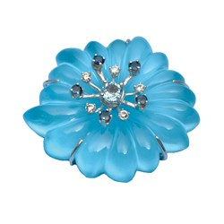 18k WG Crystal & Turquoise Flower Pin