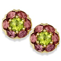 Rhapsody Round Earrings Peridot Center/Pink Tourmaline