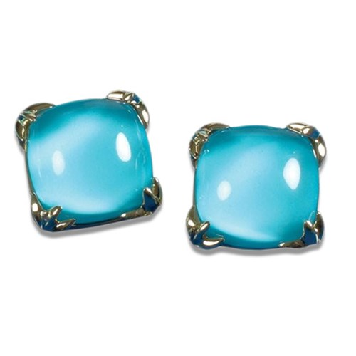 18K Yellow Gold, Turquoise, and Crystal Earrings