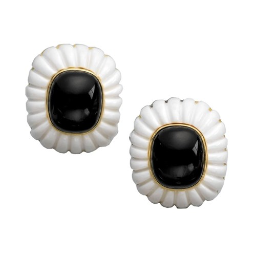 18K Onyx & Agate Fluted Earrings