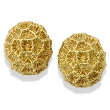 18 K YG Coral Bombe Earrings