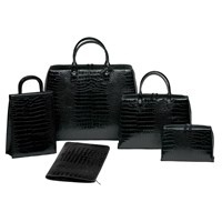 Crocodile Embossed Leather Bags Black