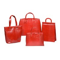 Crocodile Embossed Leather Bags Red