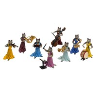 Austrian  Cat Lady Orchestra Figurine - 8 Piece Set