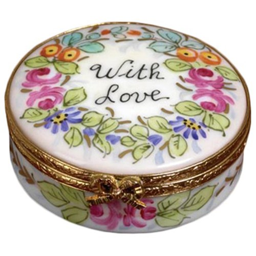 round with love limoges box limoges boxes handpainted. Black Bedroom Furniture Sets. Home Design Ideas