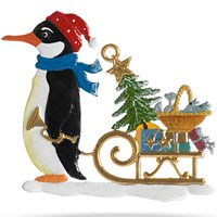 Pewter Penguin with Sled Ornament