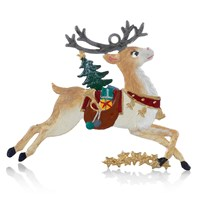 Pewter Reindeer with Gifts