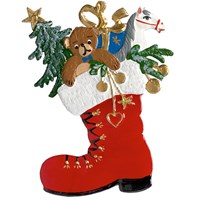 Pewter Santa's Boot Pewter Art Ornament