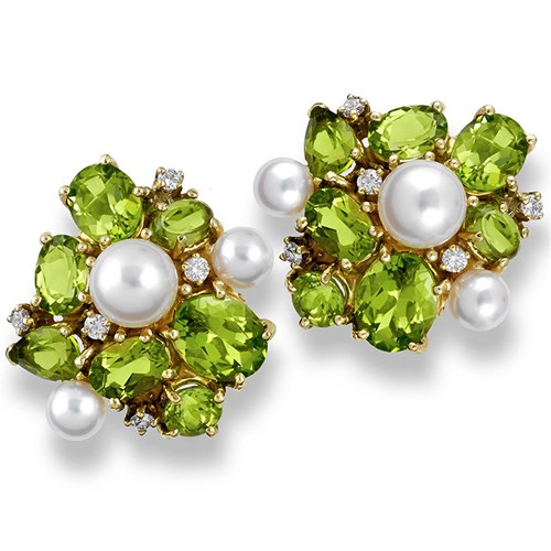 Peridot Cluster Earrings with Pearls