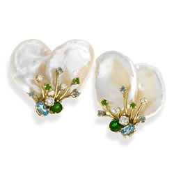 18k Gold Keshi Pearl & Blue Topaz Earrings & Pin