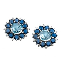 18k White Gold Blue Topaz & Iolite Earrings