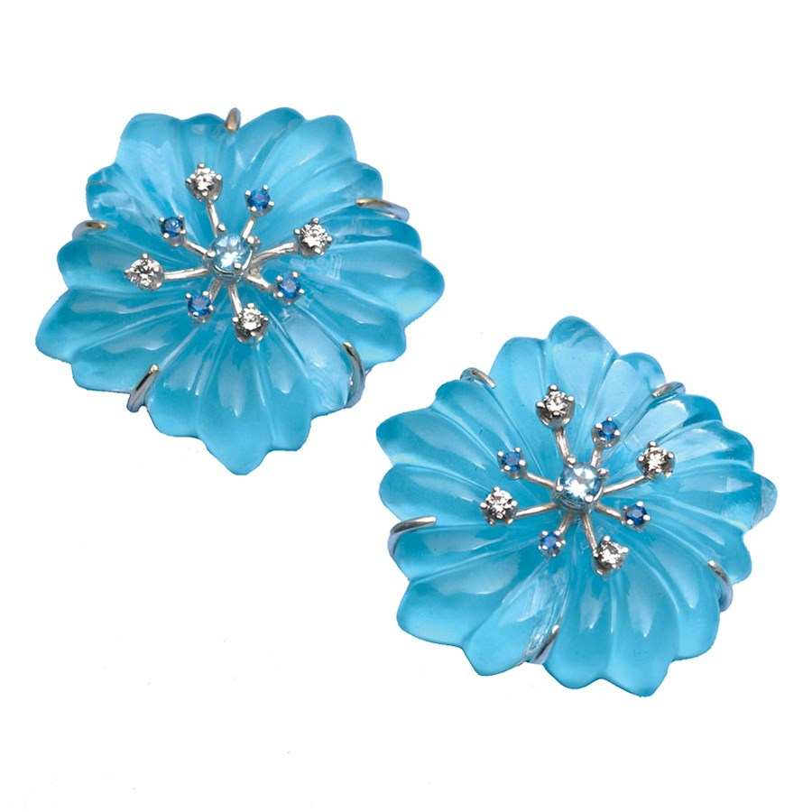 Crystal Turquoise Flower Earrings Hover To Zoom