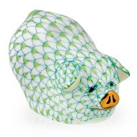 Herend Portly Pig Figurine, Key Lime