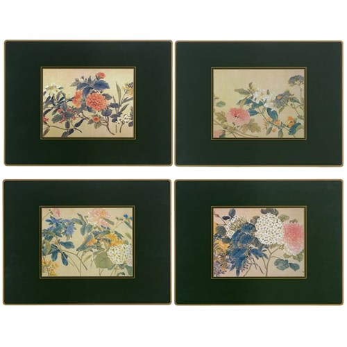 Chinese Flowers on Green Continental Placemats, Set of Four