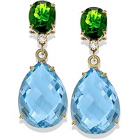 18k Gold Chrome Diaopside & Blue Topaz Clip Earrings with Diamonds