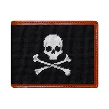 Black Jolly Roger Needlepoint Wallet