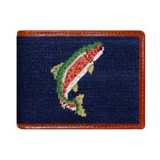 Navy Trout & Fly Needlepoint Wallet