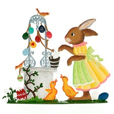 Pewter Easter at the Well Bunny Figurine