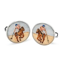 Sterling Silver & Enamel Polo Player Painted Cufflinks