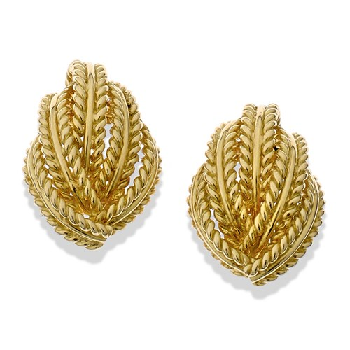 18k Gold Braided Leaf Earrings