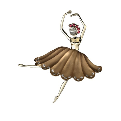 18k Gold Ballerina Pin