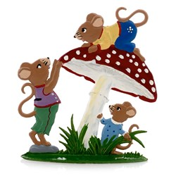 Pewter Mice Children with Mushroom