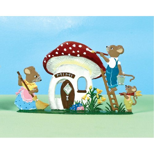 Pewter Mouse Family and Mushroom House