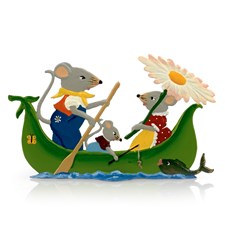 Pewter Mice in a Canoe