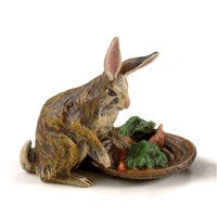 Austrian Bronze Rabbit with Carrot Basket Figurine